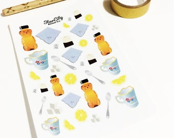 Stickers, Honey Bear Stickers, Tea time stickers, planner stickers, lemon stickers, sugar stickers, honey bear stickers, sticker sheet