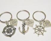 3 Compass Anchor Rudder Best Friend Heart BFF Keychains