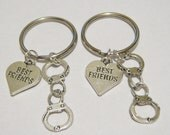 2 Partners In Crime Handcuff Best Friend Heart BFF Keychains