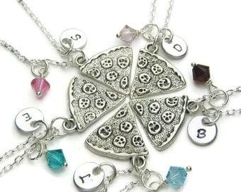 5 Personalized Pizza Swarovski Birthstone Necklaces, 5 Best Friends Necklaces, Pizza Necklaces, Pizza Best Friends Necklaces, Monogram