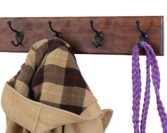 Solid Cherry Wall Coat Rack  Oil Rubbed Bronze Hat and Coat Style Hooks Hand  Made in the USA