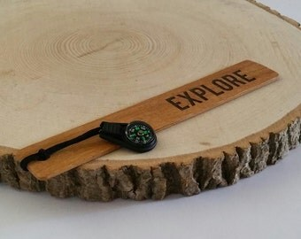 Explore, OakWooden bookmark with compass, wood bookmarks, compass, gifts for him, gifts for men, for men