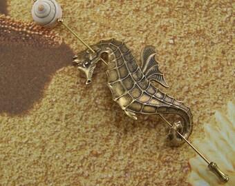 Seahorse Pin, Shawl Pin, Scarf Pin, Sweater Pin, Seashell Pin, Sarong Pin, Ocean Pin, Seahorse, Shell Jewelry, Beach Cover up Pin, Seashell