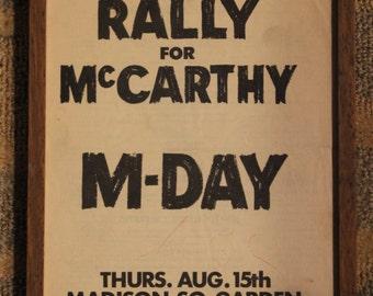 Framed Newspaper Advertisement | Senator Eugene McCarthy DNC Political Rally