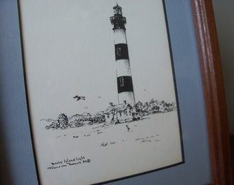 Vintage Bodie Island Lighthouse North Carolina Framed Print Coastal Beach Wall Art