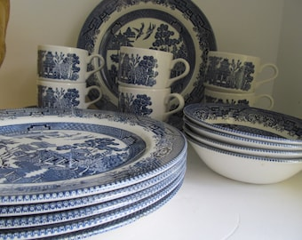 Blue Willow Dish Set Blue and White China Willow ware Churchill Staffordshire England Blue Willow Dinner ware Set Blue Willow Plates bowls