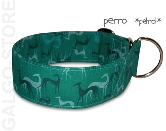 """greyhound collar *perro petrol""""; martingale, buckle or tag collar; wide 1.2"""" to 2"""", size XS- XL, sighthound collar"""