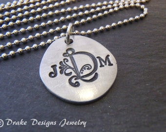 Custom monogram necklace / personalized initial jewelry / gift for her