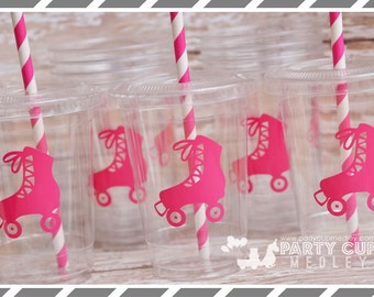 Roller Skate Birthday Party, Set of 8 or 12 You Choose Party Cups, Favor Cups or Reusable Souvenir Cup