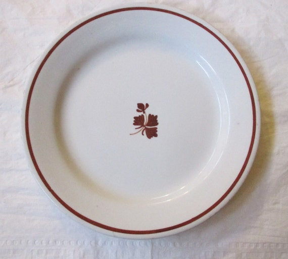 "Antique Alfred Meakin Copper Tea Leaf 7-7/8"" Salad Plate, Royal Ironstone China (1800s)"
