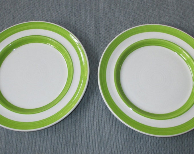 "Set of 2 Metlox Fern Green 7.75"" COLORBANDS Salad Plates, Very Good Condition, c. 1979-84"