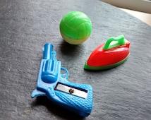 50s vintage novelty mini pencil sharpeners plastic miniature Hong Kong gun soccer ball iron sharpener cute fun Halloween birthday gift