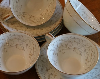 "Noritake China ""Glennis"" Tan and Gray Scroll Pattern - Four Teacups and Four Saucers - Four Cup and Saucer Sets"