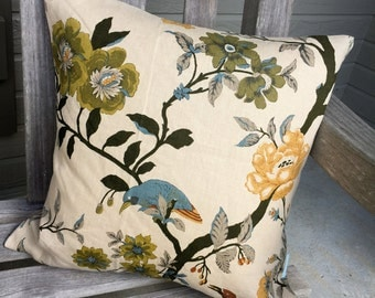 Pillow Cover/Vintage Style Bird Print Pillow Cover