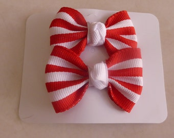 Red and white stripe set of 2 small bows for little girls