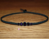 Dark Purple Faceted Glass Bead Black Hemp Choker Necklace - Teen Girl Necklace for Her - Teen Girl Gifts for Girlfriend Jewelry for Her Gift