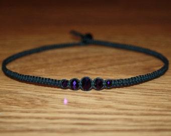 Dark Purple Necklace Purple Choker Purple Necklace Purple Jewelry - Black Choker Necklace Hemp Choker - Purple Beaded Necklace Womens Choker