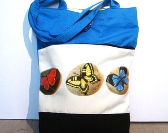 Colorful butterflies, hand made tote bag, painted rock photography, spring garden, wearable art