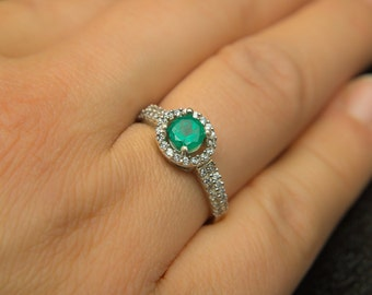 Colombian Natural Emerald Ring Emerald Engagement Ring Halo Engagement Ring with Diamond Accents