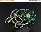 This item is ON SALE GREEN marquis glass rhinestone flower pin brooch Bling broach gardening jewelry Silver tone