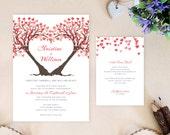 Heart tree wedding invita...
