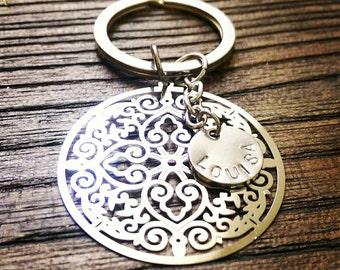 Personalised Hand Stamped Key Ring Stainless Steel