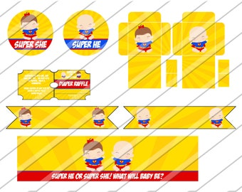 Instant Download: Superhero Baby Printable Gender Reveal Party Package Super babies, Super He Super She invitation, cupcake topper wrapper