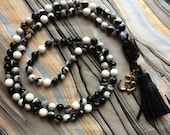 Black and White Mala Necklace with Black Tourmaline and Ohm