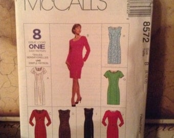 McCall's 8572 (8,10,12) Misses' Dress in Two Lengths 1996 UnCut