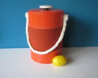 Georges Briard Ice Bucket - Rope Handle - Mod - Nautical - Bright Orange - Vintage 1970's