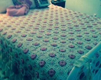 Vintage Crochet Bedspread Handmade Romantic  Ecru and Pink Fairytale Fantasy~Sale was 195.00