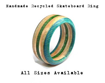 Recycled Skateboard, Skateboard Ring, Wooden Ring, Skateboard Art, Skate Ring, Wood Band Ring, Handmade Ring, Made To Order, Fast Shipping