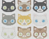 Little Cats Cross Stitch Pattern 9 in 1 Kittens Easy PDF Pattern