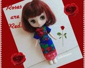 Rose Are Red.... DRESS handmade fashion clothes for Middie Blythe doll - by dolls4emma
