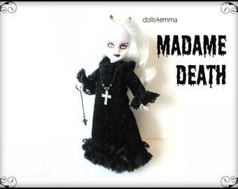 Living Dead Doll Goth Clothes - MADAME DEATH Goth Gown Cross Necklace Skull Ornament - Handmade Custom Fashion - by dolls4emma