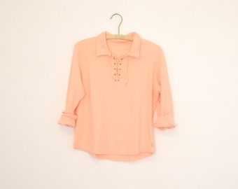 Pink Lace-Up Polo Shirt - Early 90s