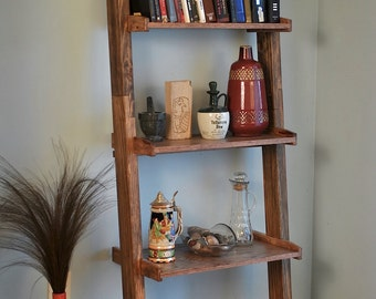 Ladder bookshelf, spacial walnut stain