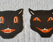 RESERVED FOR Thomas Vintage Halloween Decorations AWESOME Pair of Black Cats Embossed Pressed Paper