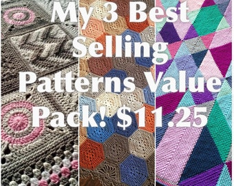 My 3 BEST SELLING crochet patterns for a discounted 11.25USD - Added value sale - instant downloads