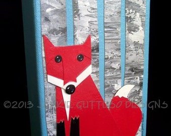 "Fox collage painting, Original acrylic canvas art 5 x 7"" Gallery wrap, Woodland nursery decor, Fox art, Woodland nursery, Forest animal art"