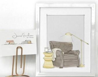 Reading Chair Illustration