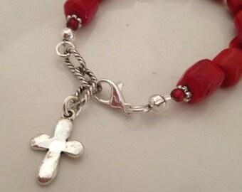 Cross bracelet/Red coral bracelet/Bracelet with cross charm