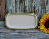 Vintage Butter Dish Replacement Bottom Piece Stoneware Made In Japan Meadowbrook; Green Trimmed & Speckled
