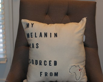 "Canvas Melanin Pillow Cover - 18"" x 18"""