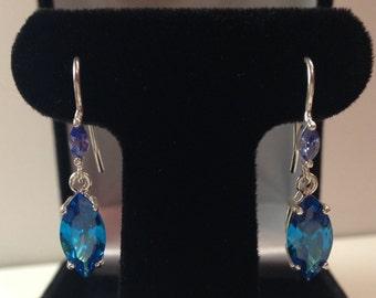 BEAUTIFUL 6ct Blue Topaz & Tanzanite Sterling Silver Dangle Earrings Jewelry Trending Gemstones Marquise London Blue Topaz Earrings Gift