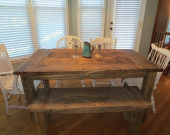Aged and Weathered Wooden Farmhouse Dining Table and Bench Combos made from aged wood