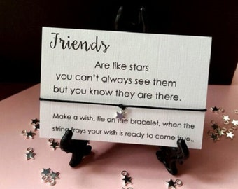 Gift Tag Wish String Charm Bracelet 'Friends are like Stars' Friendship Star #33