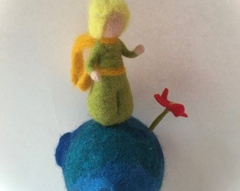 Mobile, Prince with a rose,Felted. Waldorf