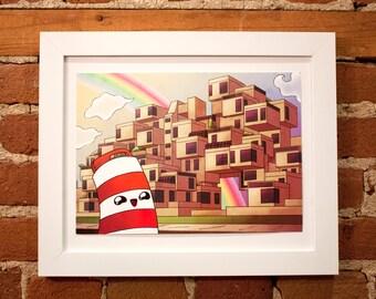 "12"" x9"" inches Ponto with Habitat 67 poster digital print illustration Montreal"