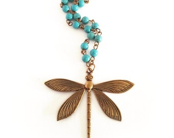 Dragonfly pendant, turquoise necklace, rosary necklace, antique brass necklace, boho necklace, turquoise rosary necklace, beaded necklace